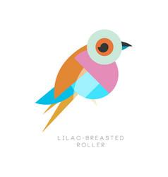 elegant logo design of lilac breasted roller bird vector image vector image