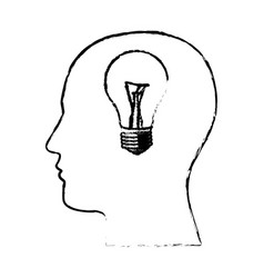 figure man with bulb in the brain icon vector image