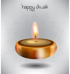 Happy Diwali Design with a Candle vector image