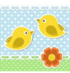 Romantic card with birds and flower vector image vector image