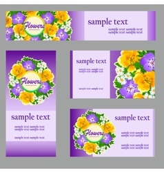 Set of cards with a picture of wild flowers vector image