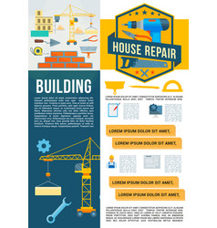 building construction work tools poster vector image