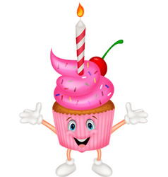 Cup cake cartoon with candle vector image