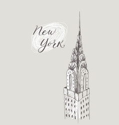 new york building doodle set american travel vector image