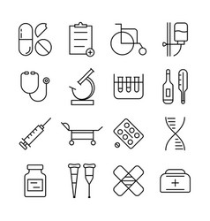 thin line medical items set vector image