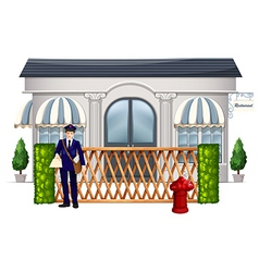 A delivery man outside the restaurant vector image