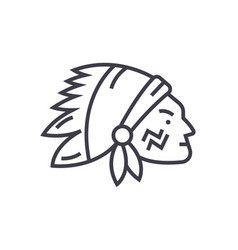 indian head line icon sign vector image