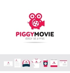 Piggy Movie business company logo template vector image vector image
