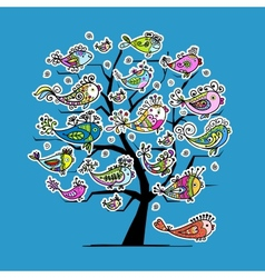 Underwater tree with funny fishes for your design vector image vector image