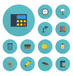 flat icons puncher espresso machine tea and vector image vector image