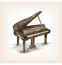 Grand piano hand drawn sketch style vector