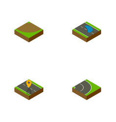 Isometric way set of plash turn navigation and vector