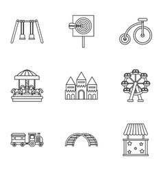 Kids games icons set outline style vector