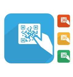 Qr code label with human hand icon set vector image vector image