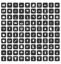 100 garden stuff icons set black vector