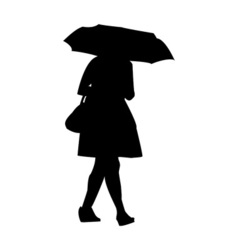 a silhouette of a girl walking in the rain with an vector image