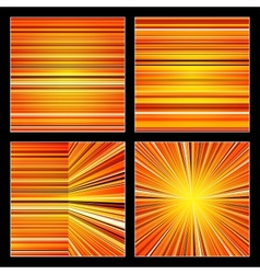 Abstract striped orange colorful backgrounds set vector image