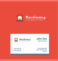 alarm logo design with business card template vector image