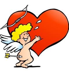 An angel boy hugging a red heart vector