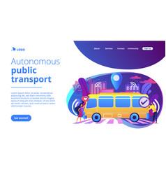 Autonomous public transport concept landing page vector