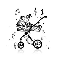 baby carriage ornate silhouette for your design vector image