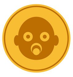 Baby head gold coin vector