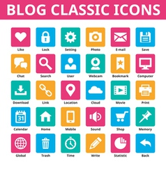 Blog classic icons set vector
