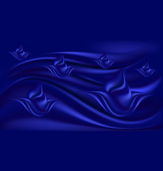 Blue silk wavy background with flowers deep vector