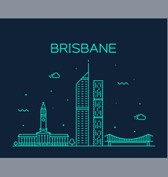 Brisbane skyline queensland australia line vector