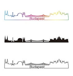 Budapest skyline linear style with rainbow vector