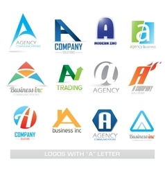 Business icons set with a letter vector image