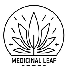 cannabis medicine leaf logo outline style vector image
