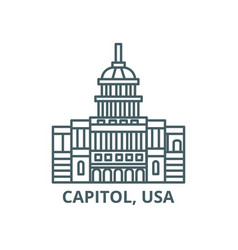 capitol usa line icon capitol usa vector image