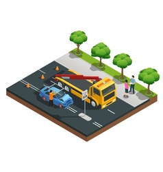 Car Accident Isometric Composition vector