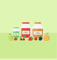 Card with jars of jam in flat style vector