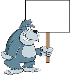 Cartoon Gorilla with a Sign vector image