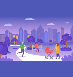Casual people walking in evening summer city park vector