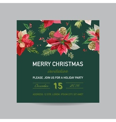 Christmas Invitation Poinsettia Greeting Card vector image vector image