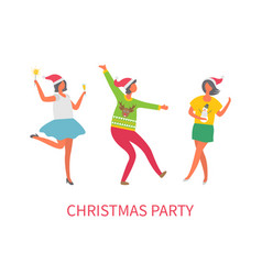 christmas party people friends dancing together vector image