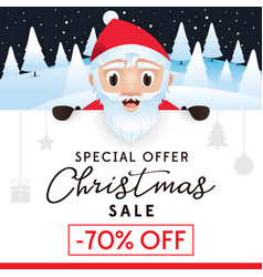 christmas sale leaflet discount up to 70 percent vector image