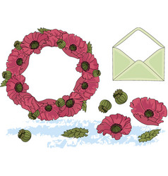 Clip arts flowers and letter color vector