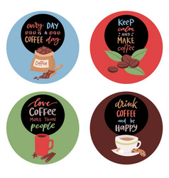 coffee stickers or badges with text banner vector image