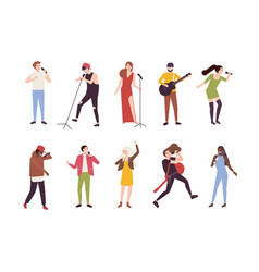 Collection of singers with microphones and vector