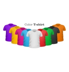 Color t-shirts front view set isolated vector