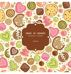 Colorful cookies frame seamless pattern background vector image