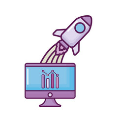 computer with statistics and rockets vector image