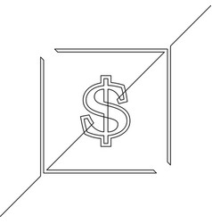 continuous line drawing dollar sign in square vector image