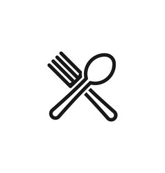 crossed spoon and fork restaurant and food logo vector image