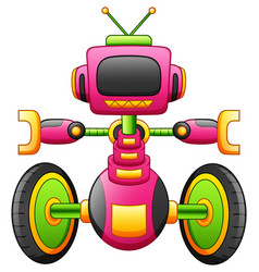 Cute cartoon robot character with two-wheel isolat vector