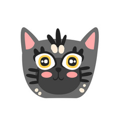 cute grey kitten head funny cartoon cat character vector image